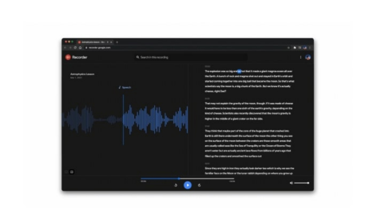 Google provides its own voice recorder app for the Pixel series, which is English only but has a text transcription function.