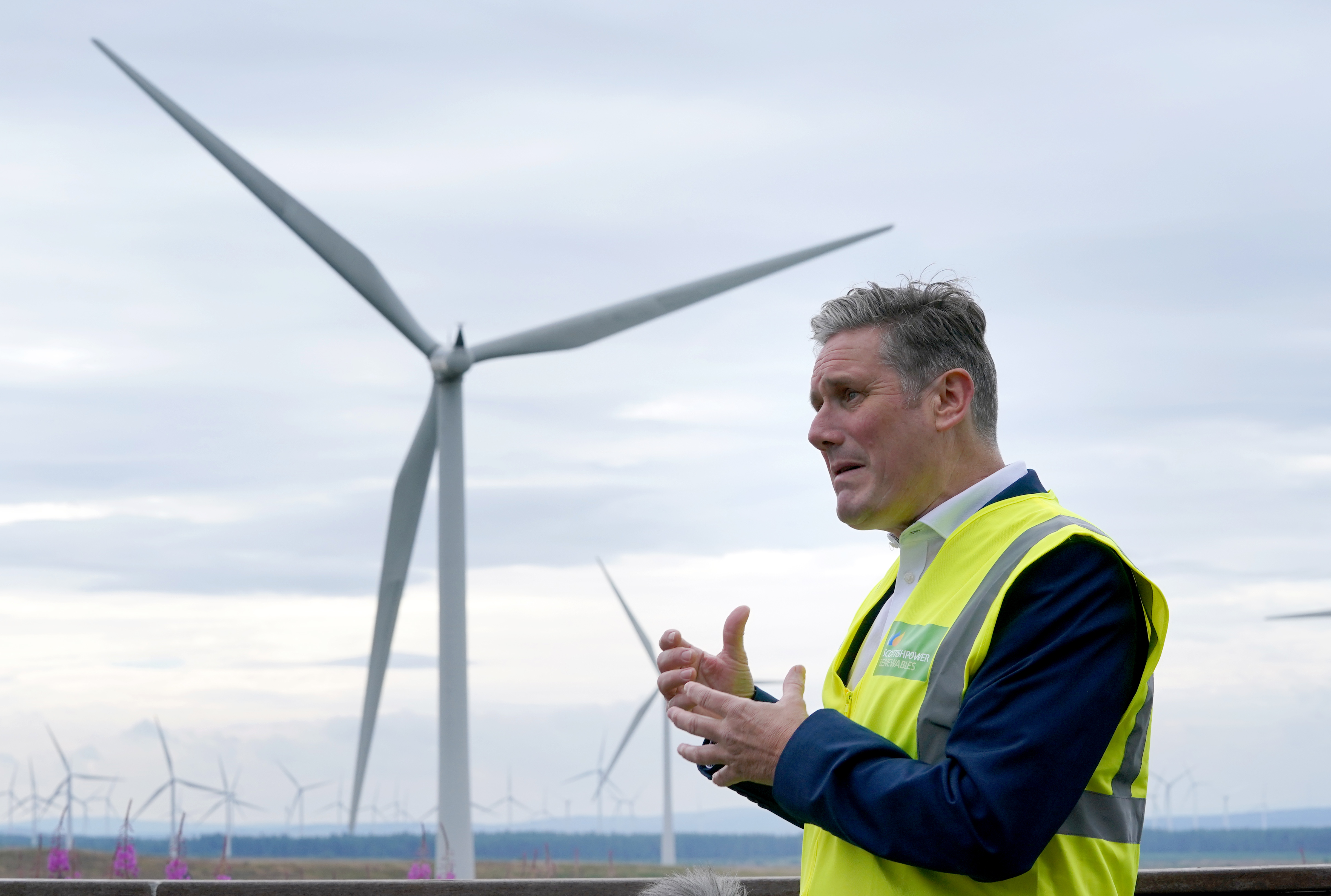 <p>Labour leader Sir Keir Starmer during a visit to Whitelees windfarm, Eaglesham, as he continues his visit to Scotland. Picture date: Thursday August 5, 2021.</p>