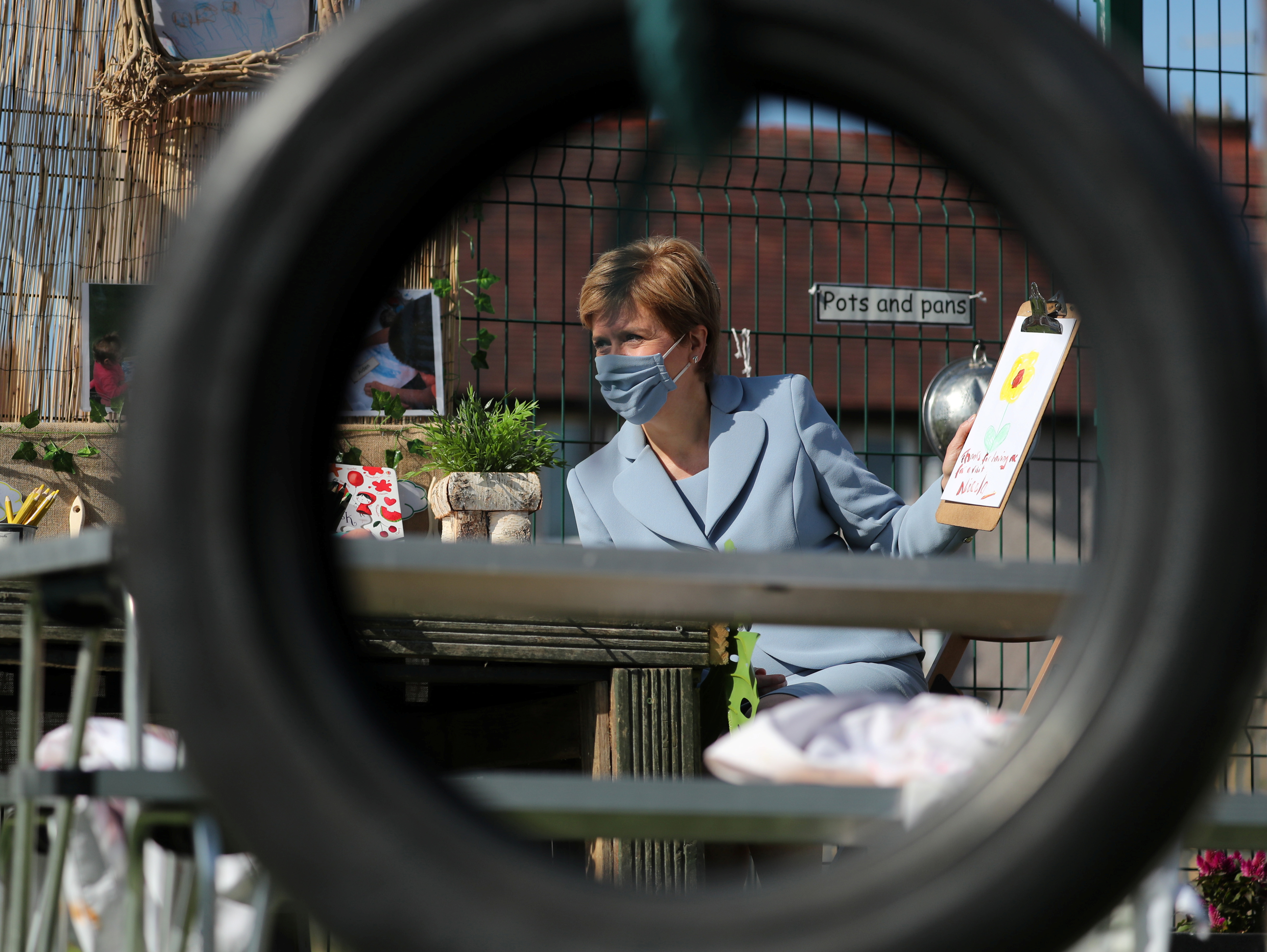 <p>First Minister Nicola Sturgeon during a visit to the Fallin Nursery in Fallin, Stirlingshire. Picture date: Wednesday August 4, 2021.</p>