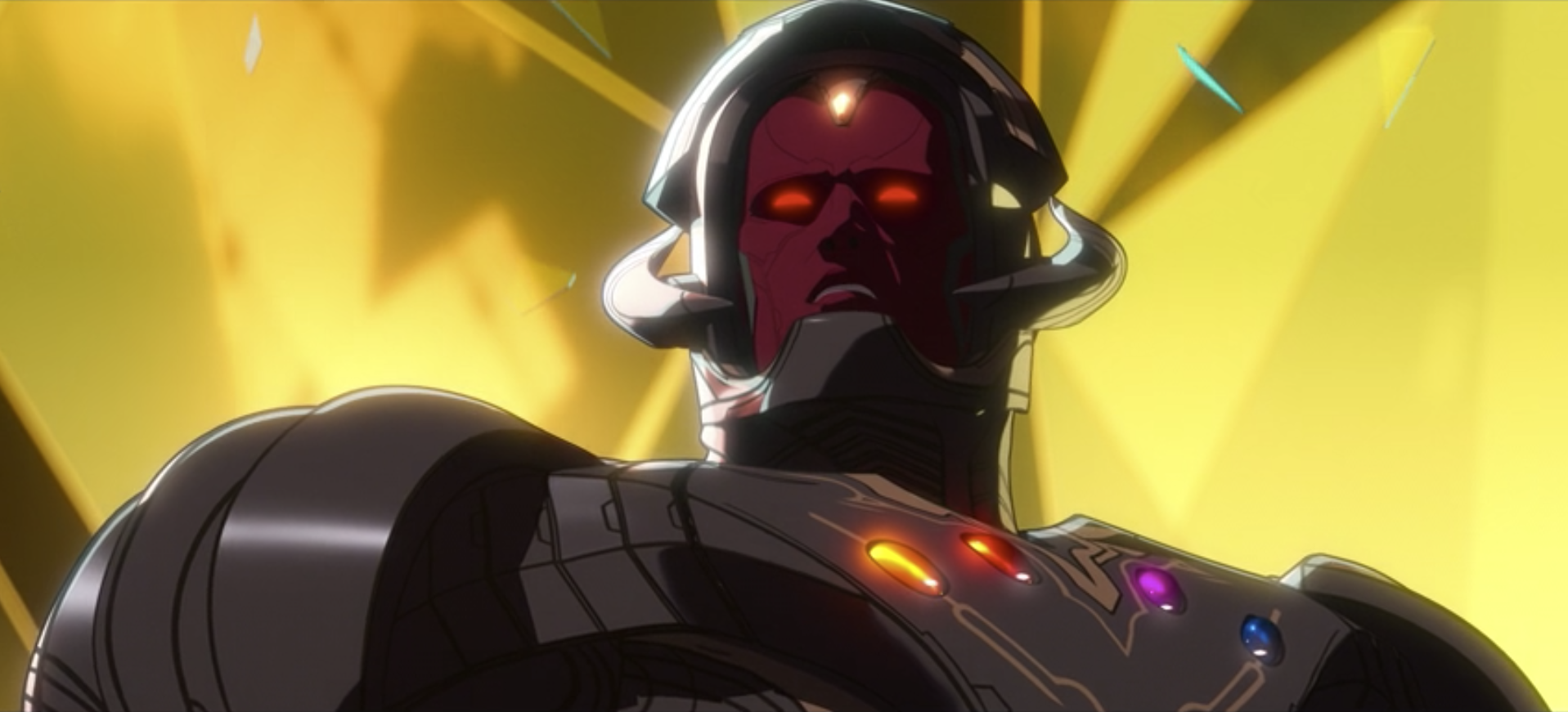 Ultron, in Vision's body with the Infinity Stones