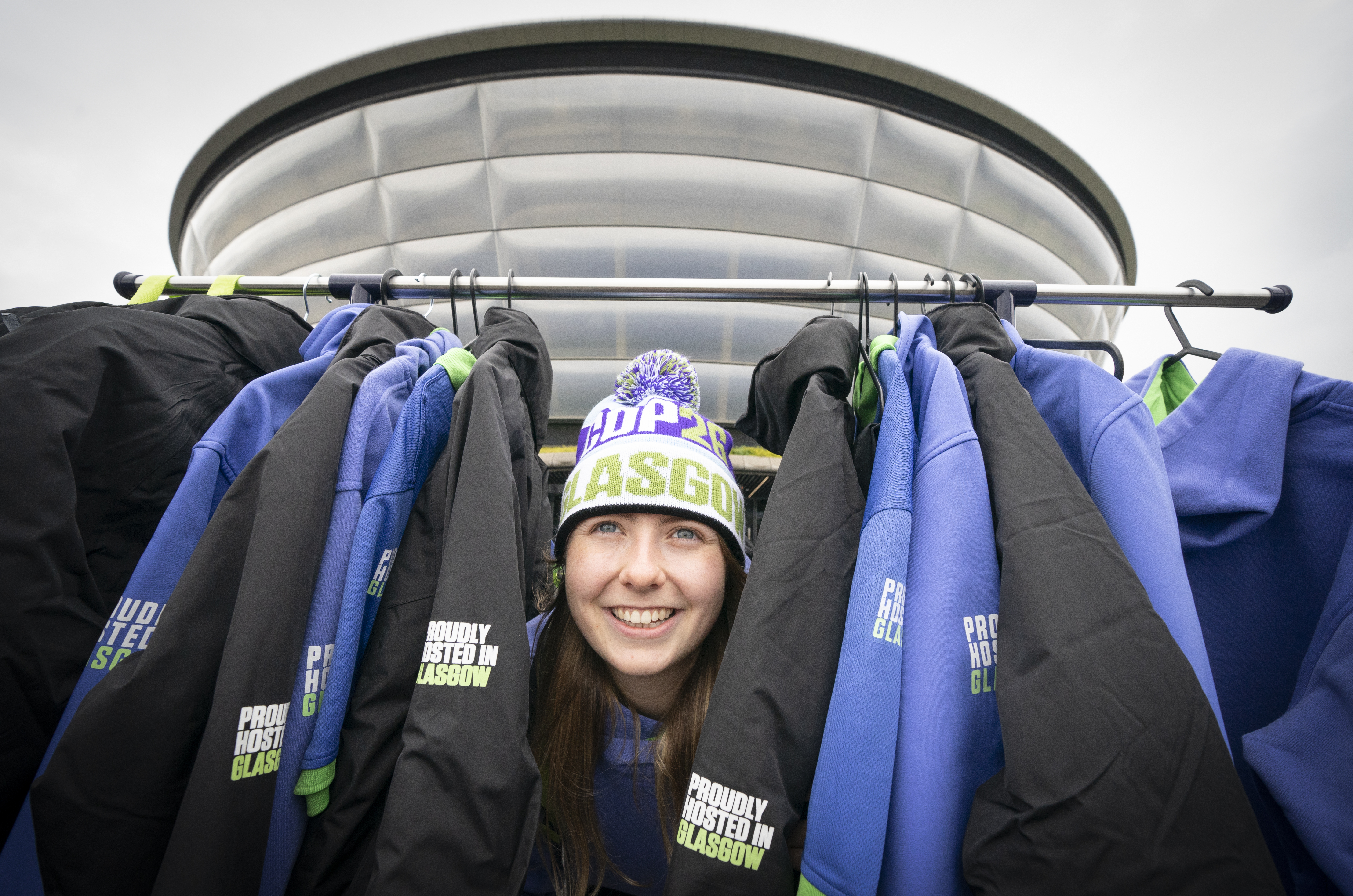 <p>Volunteer Leigh Baxter models the official uniform that will be worn by around 1,000 volunteers at the UN Climate Change Conference of the Parties (Cop26) are unveiled at The SSE Hydro, on the Scottish Event Campus in Glasgow. Picture date: Thursday September 30, 2021.</p>