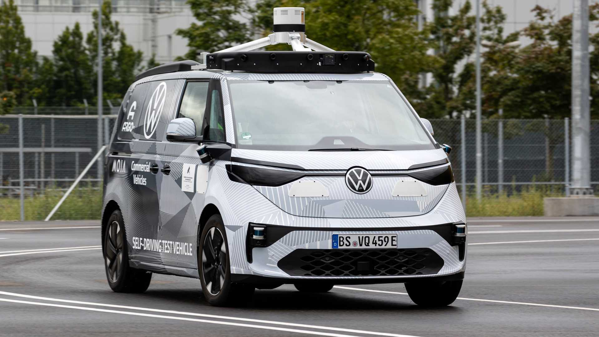 Volkswagen's ID.Buzz electric minivan appears as a self-driving prototype