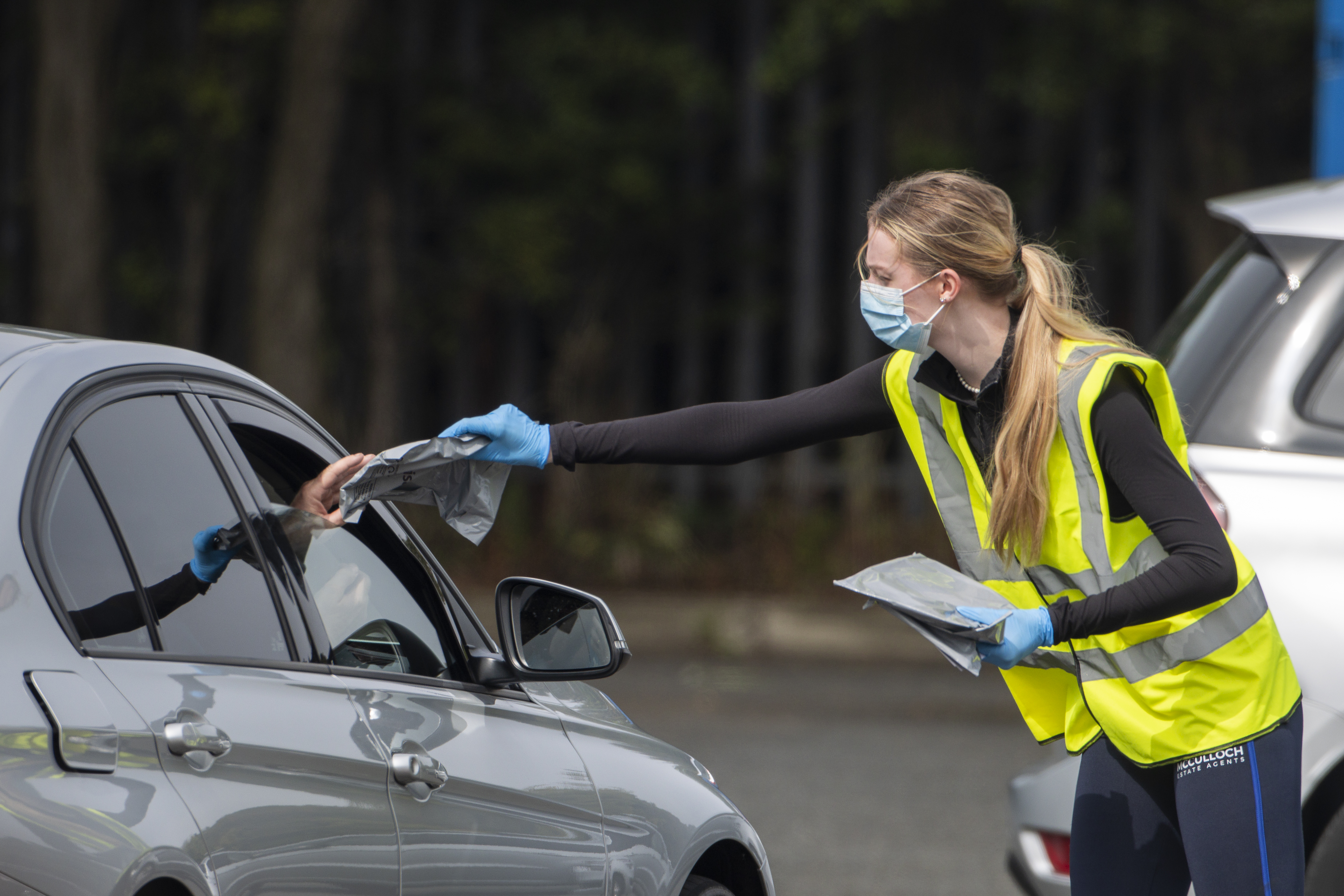 <p>A mobile testing facility at Larne Leisure centre following the news that 400 pupils at the local high school missed classes because they had come into contact with someone with Covid-19. (Photo by Liam McBurney/PA Images via Getty Images)</p>