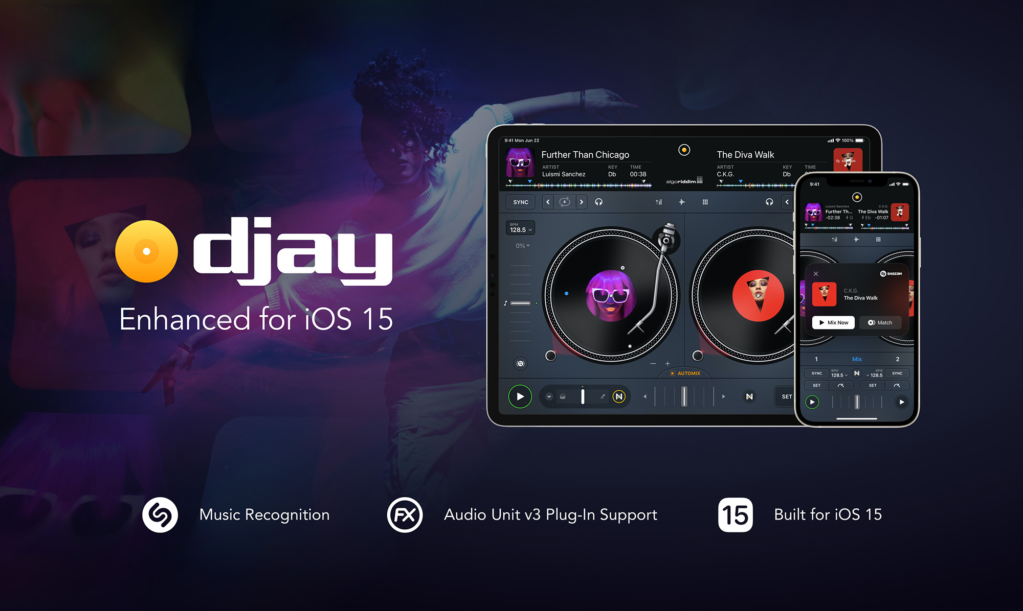 Algoriddim's djay iOS app uses Shazam to recognize and sync with live music