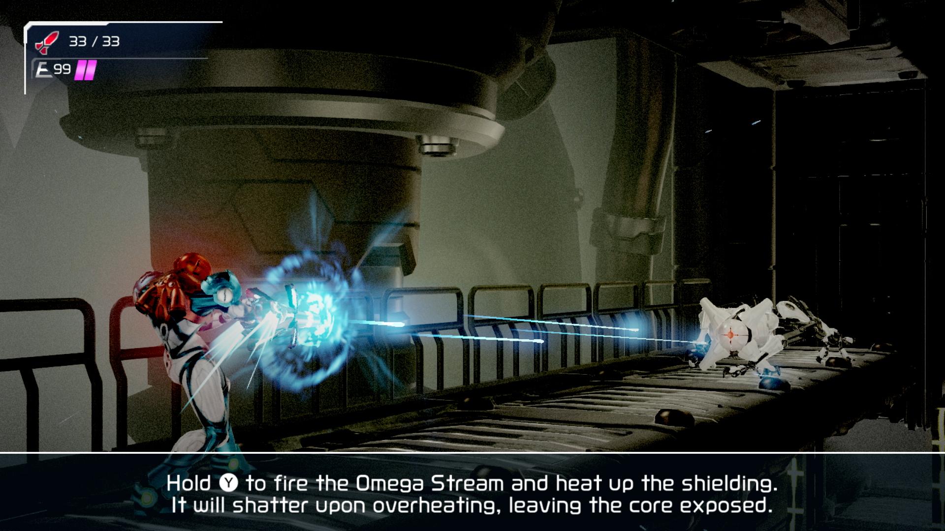 Samus Aran firing the Omega Stream at an EMMI