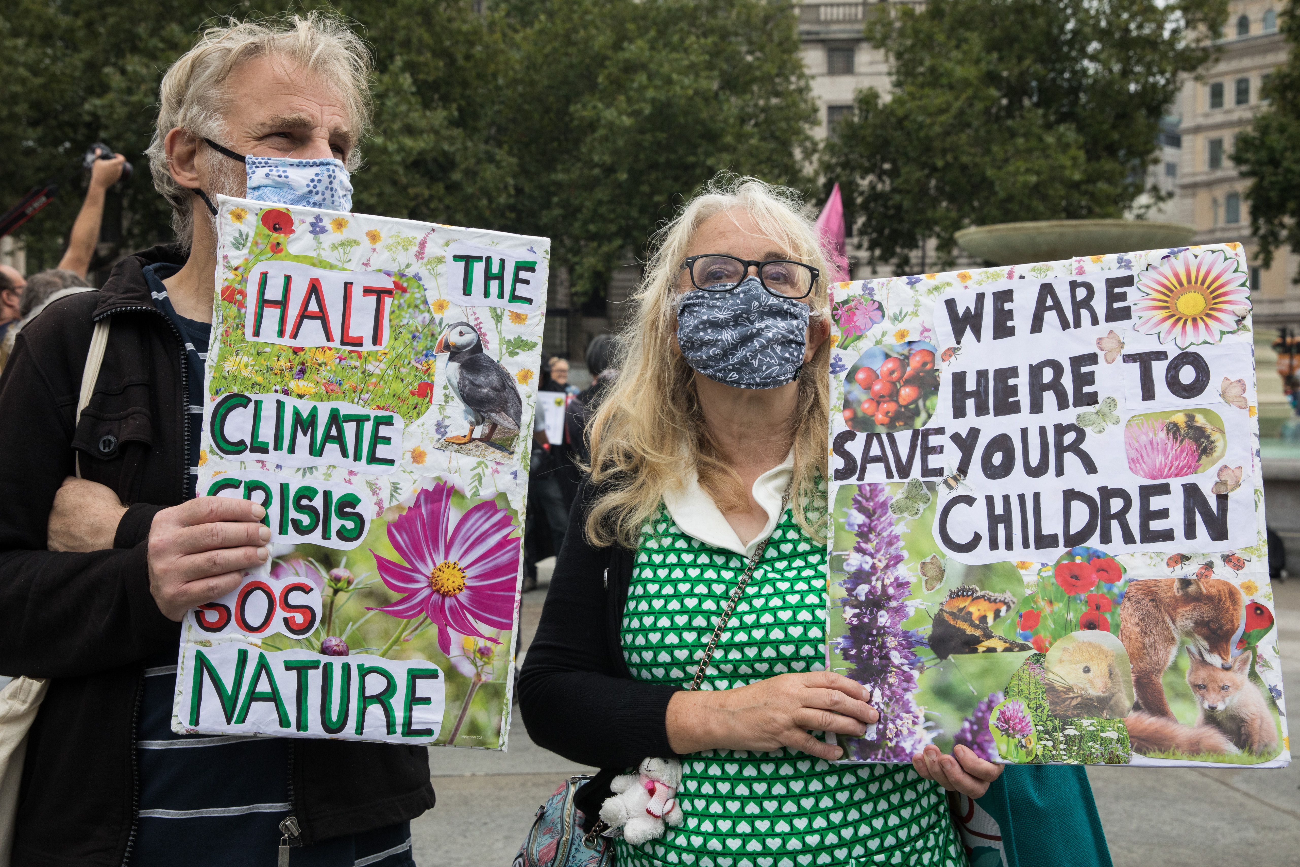 <p>Extinction Rebellion climate activists assemble in Trafalgar Square to take part in a colourful March for Nature on the final day of their two-week Impossible Rebellion on 4th September 2021 in London, United Kingdom. Extinction Rebellion are calling on the UK government to cease all new fossil fuel investment with immediate effect. (photo by Mark Kerrison/In Pictures via Getty Images)</p>