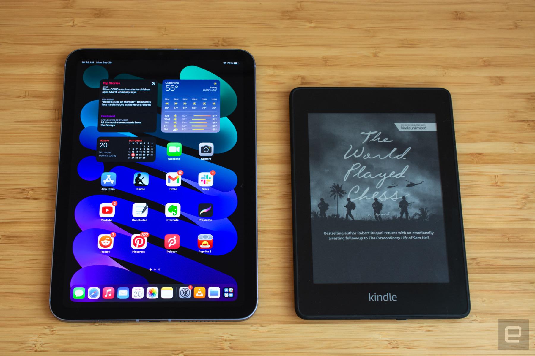 <p>Apple's iPad mini next to Amazon's Kindle Paperwhite.</p>