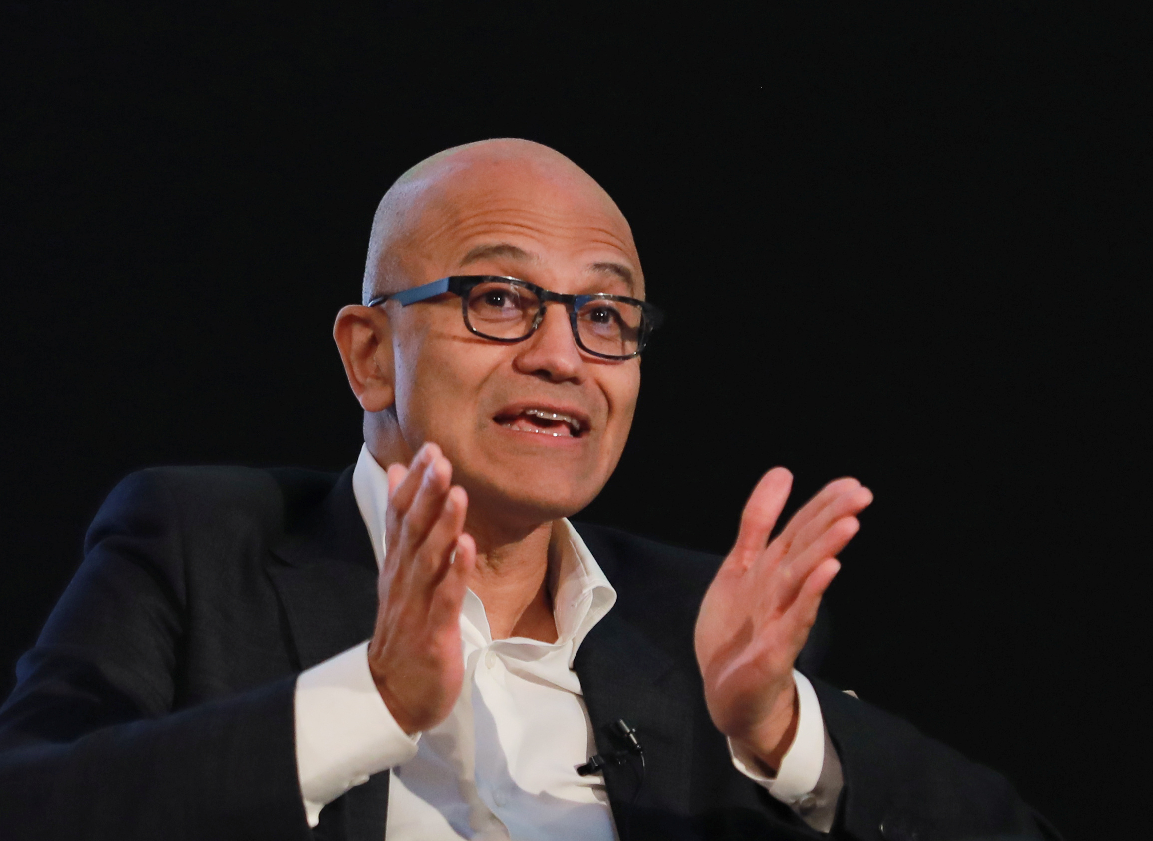 Satya Nadella, Chief Executive Officer of Microsoft, gestures as he attends Microsoft's 'Young Innovators' Summit' in New Delhi, India February 26, 2020. REUTERS/Anushree Fadnavis - RC288F9X0CWQ