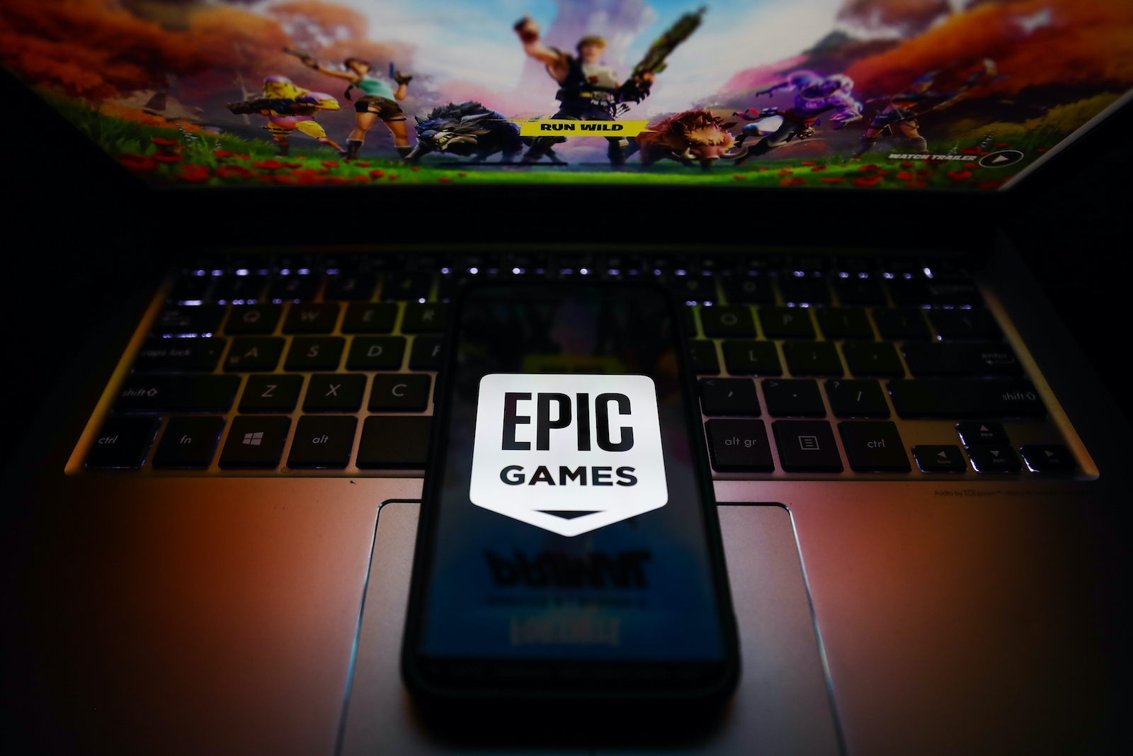Epic Games logo is seen displayed on a phone screen in this illustration photo taken in Krakow, Poland on May 3, 2021. (Photo illustration by Jakub Porzycki/NurPhoto via Getty Images)