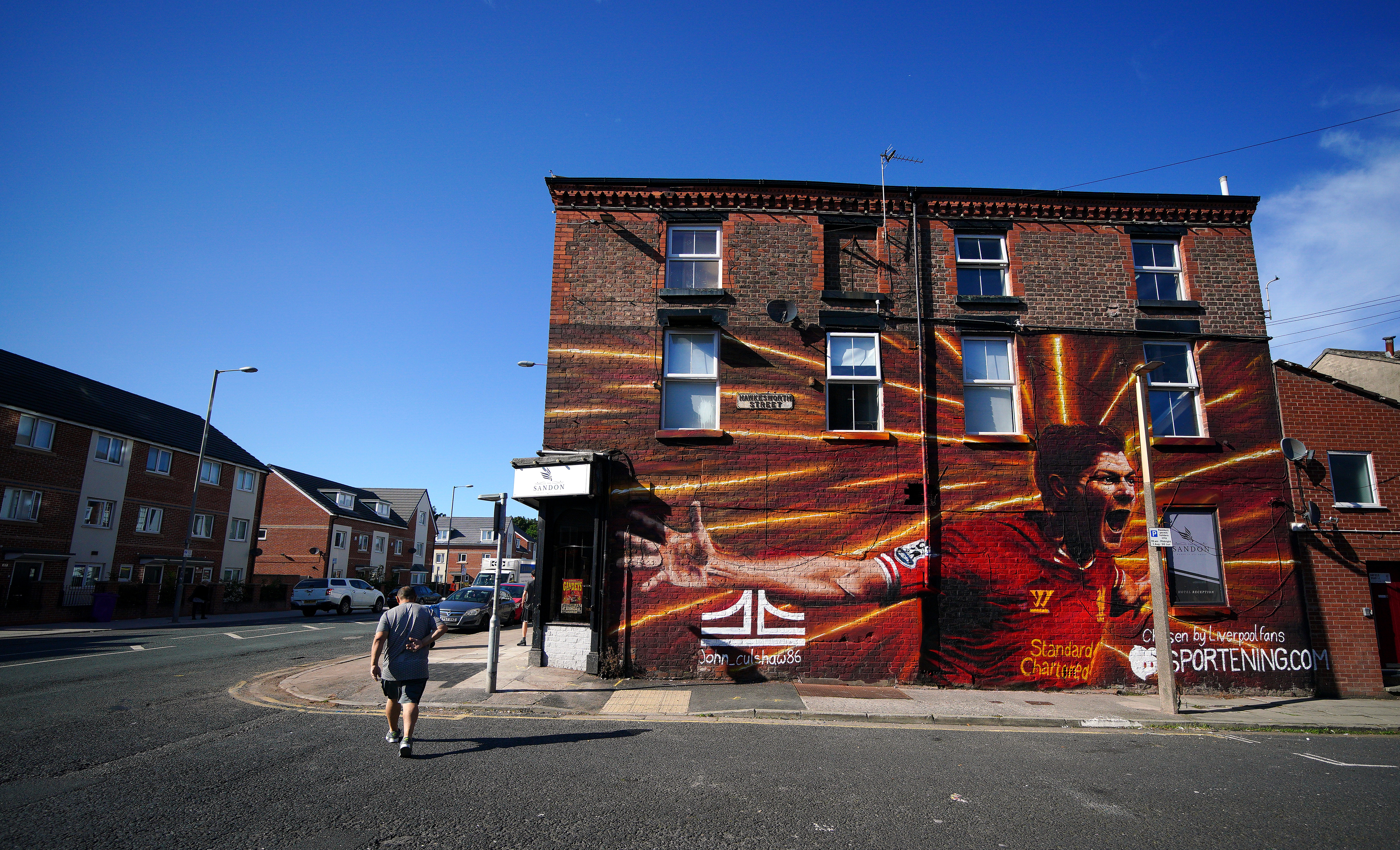 <p>A new Steven Gerrard mural on a wall near Anfield painted by John Culshaw before the UEFA Champions League, Group B match at Anfield, Liverpool. Picture date: Wednesday September 15, 2021.</p>