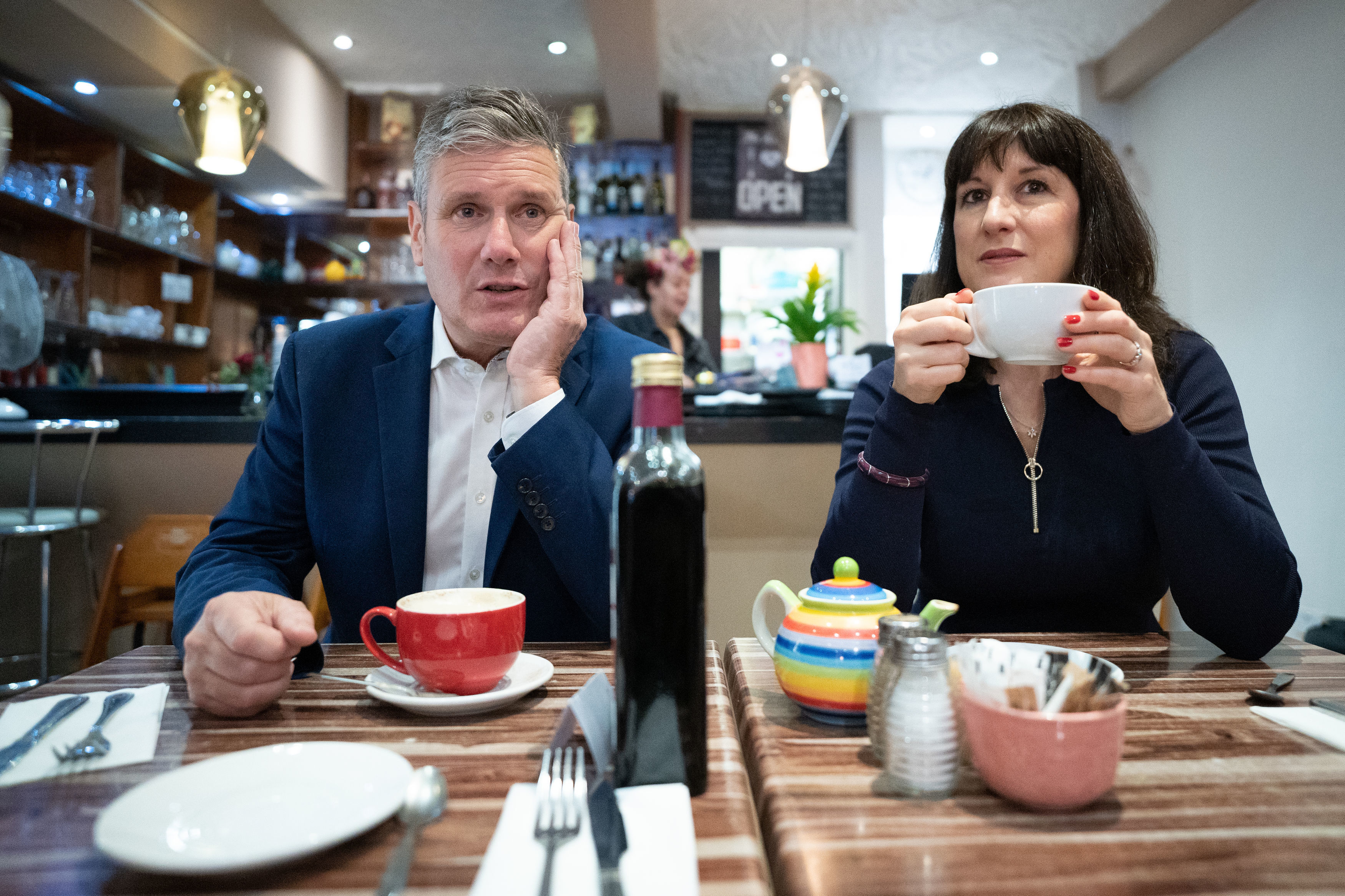 <p>Labour Party leader Sir Keir Starmer and shadow chancellor Rachel Reeves during a visit to businesses in Hove, East Sussex where they met shop keepers and local people before attending the second day of the Labour Party annual conference in Brighton. Picture date: Sunday September 26, 2021.</p>