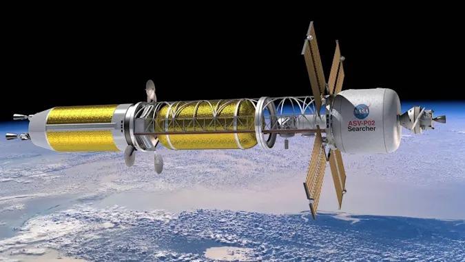 A NASA nuclear thermal propulsion concept spacecraft. NASA