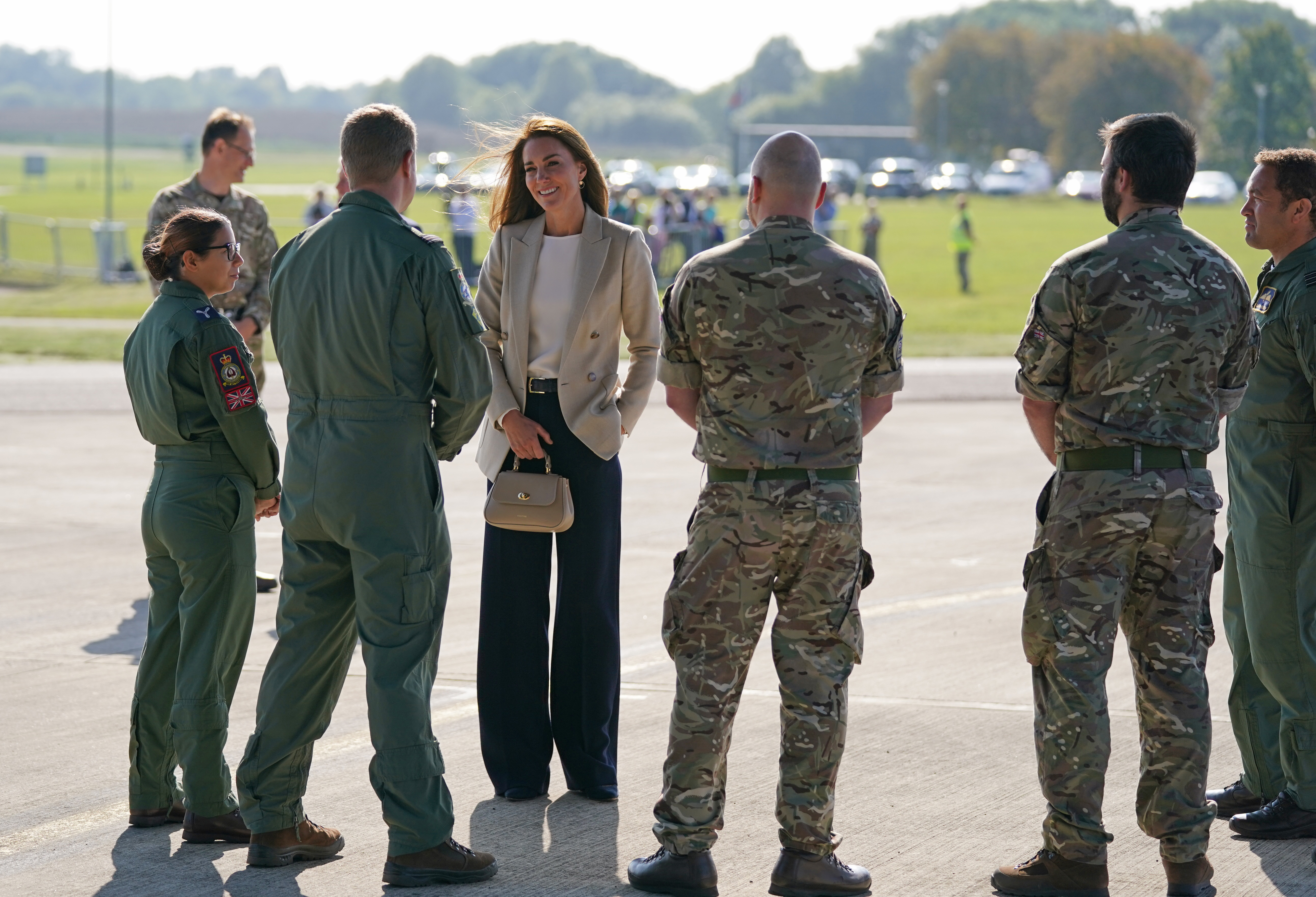 <p>The Duchess of Cambridge during a visit to RAF Brize Norton, near Oxford, to meet military personnel and civilians who helped evacuate Afghans from their country. Picture date: Wednesday September 15, 2021.</p>