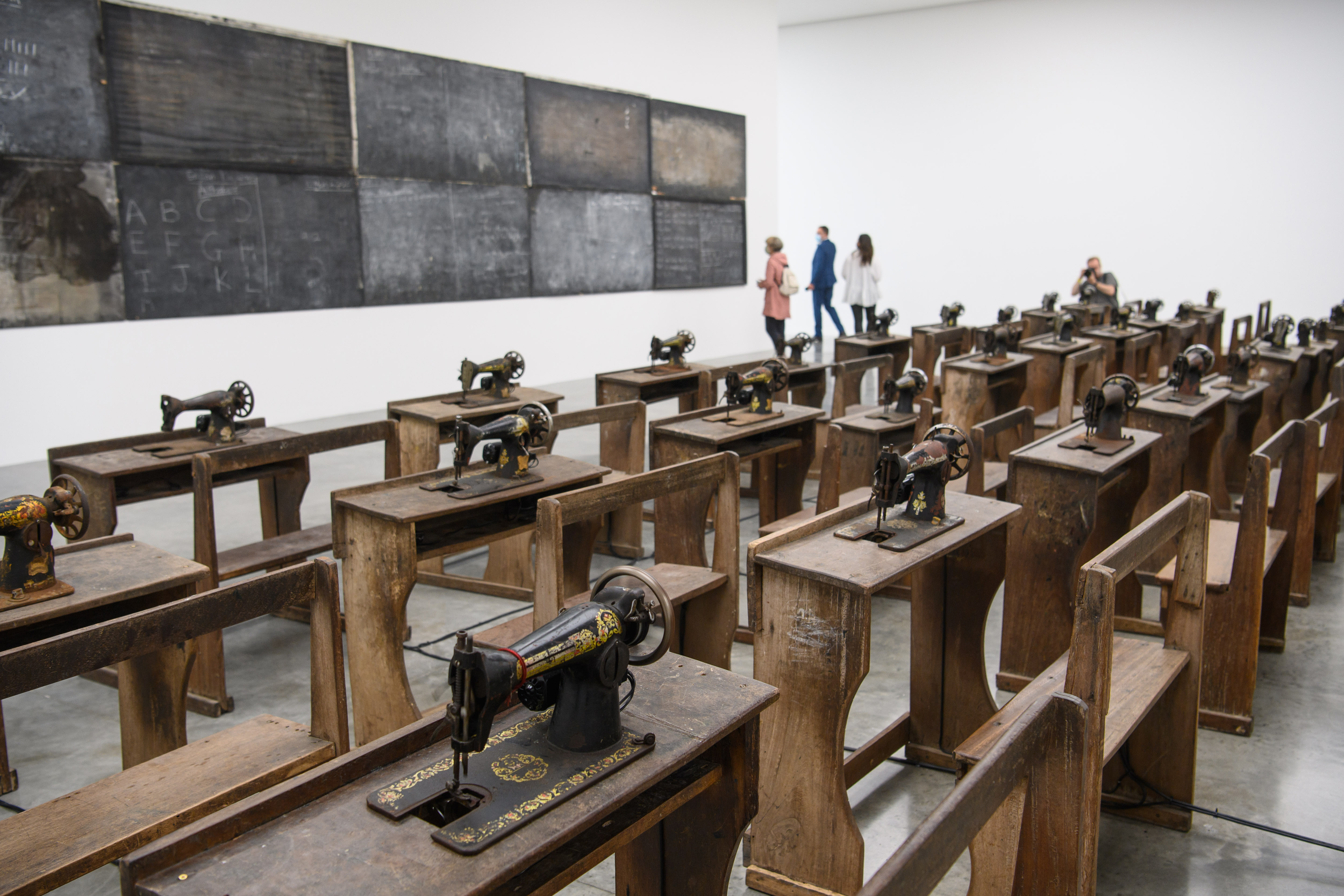 <p>Ibrahim Mahama's artwork 'Capital Corpses', at the White Cube Bermondsey Gallery in London, where his exhibition 'Lazarus' will open tomorrow. Picture date: Tuesday September 14, 2021. Photo credit should read: Matt Crossick/Empics</p>