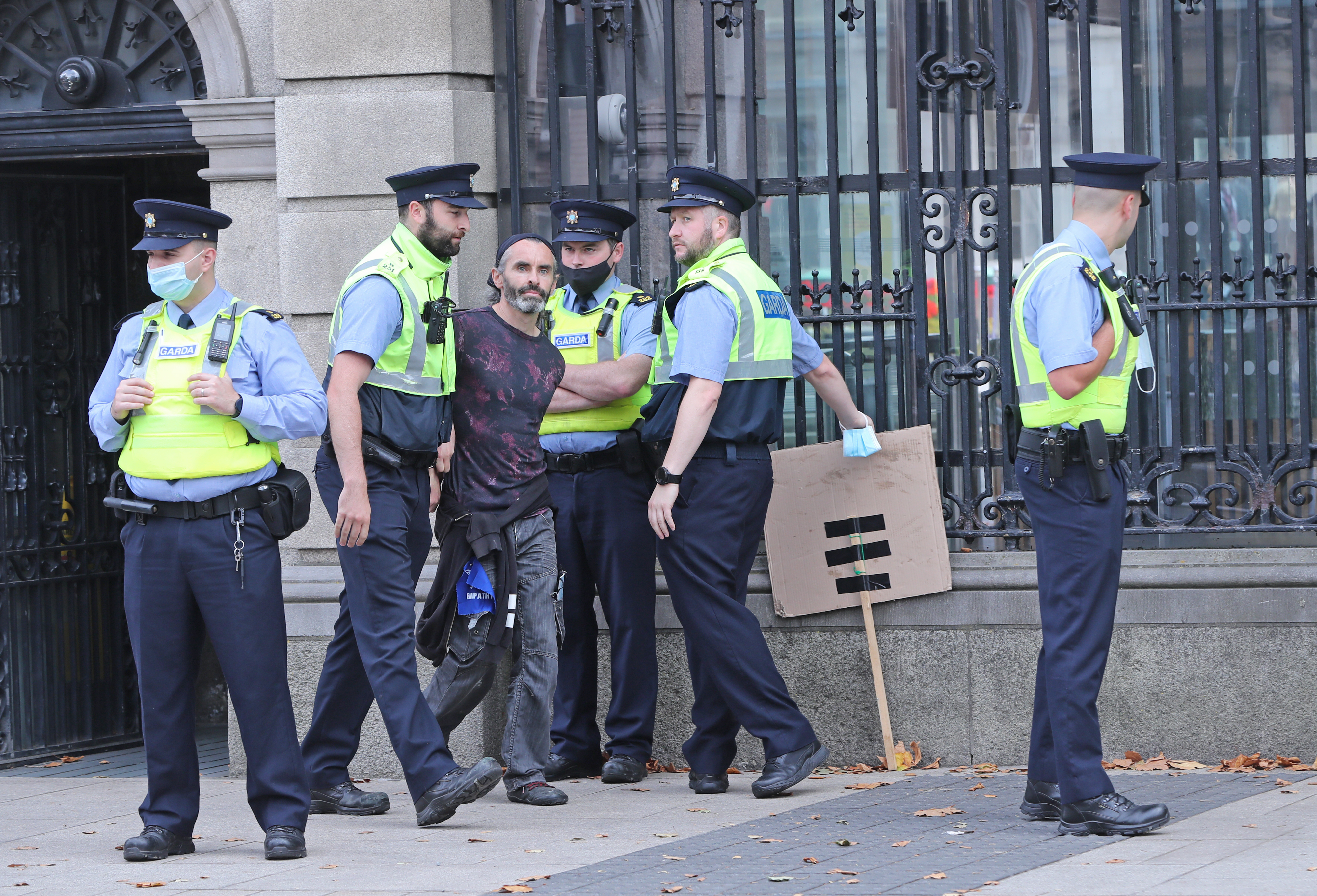 <p>Members of Extinction Rebellion protest outside Leinster House, Dublin, as politicians returned for the new Dail term. Picture date: Wednesday September 15, 2021.</p>