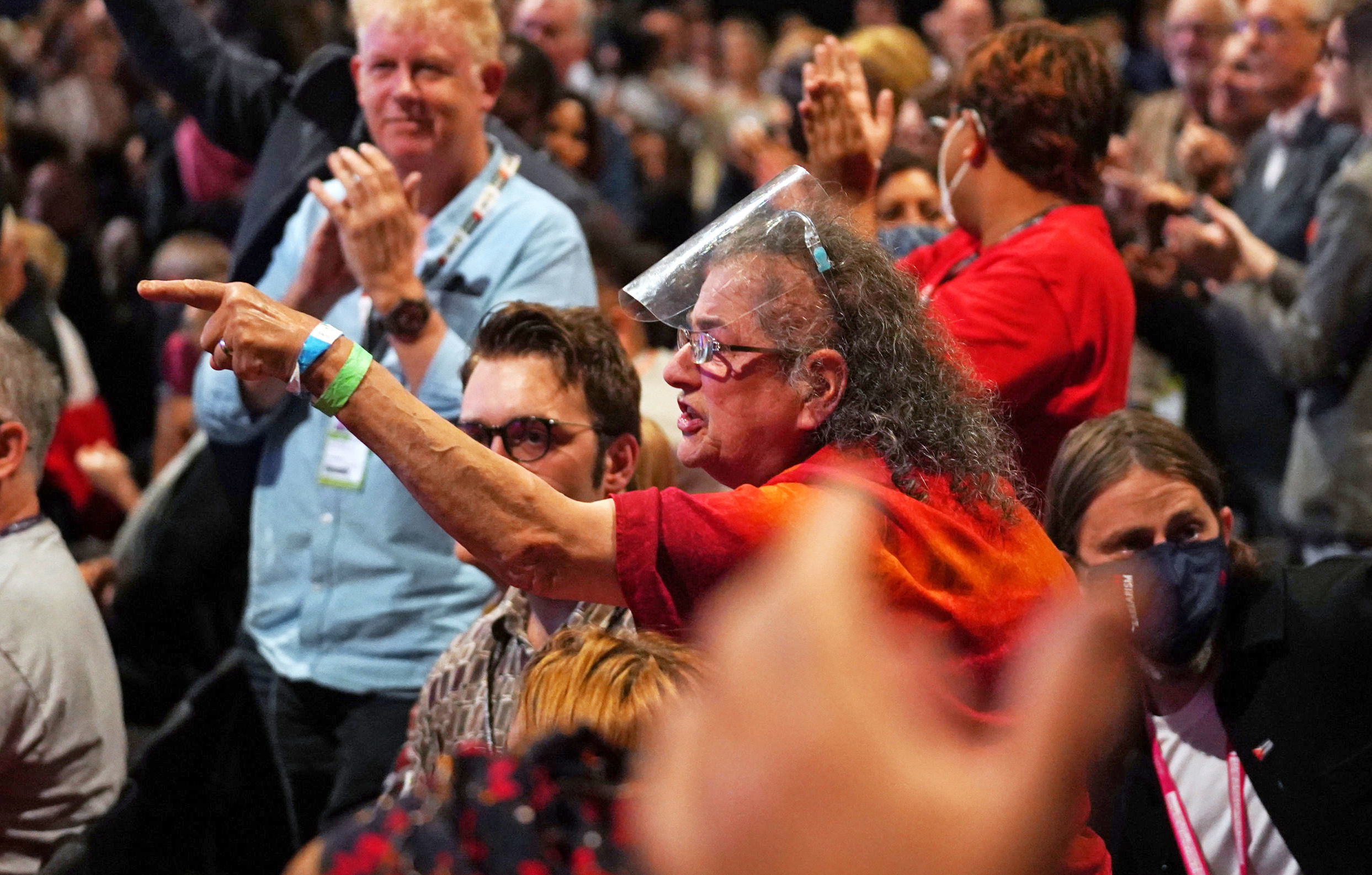 <p>Labour activist Carole Vincent heckles during the keynote speech of Sir Keir Starmer at the Labour Party conference in Brighton. Picture date: Wednesday September 29, 2021.</p>