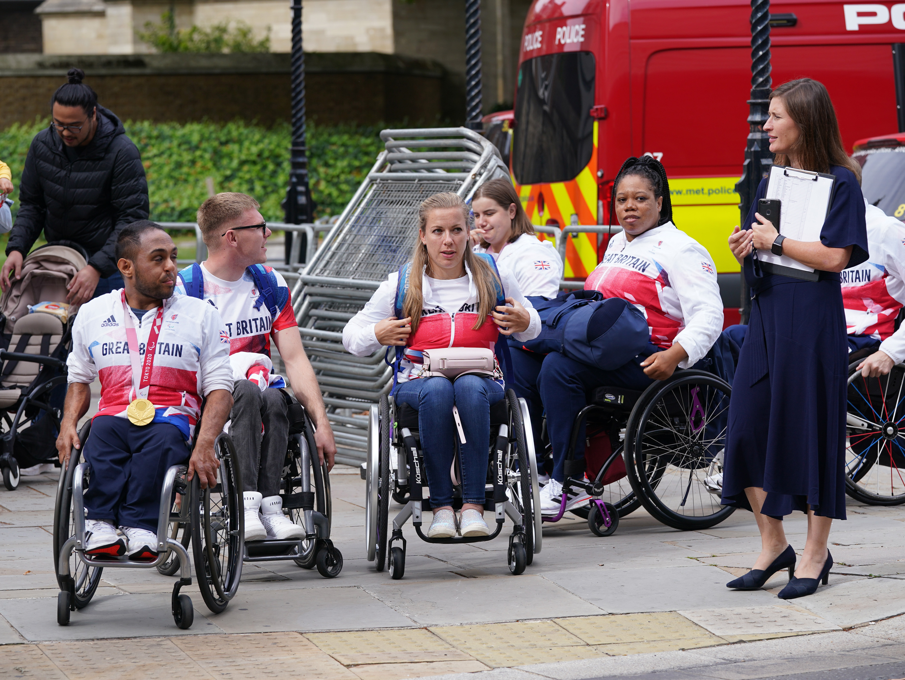<p>Team GB paralympians arriving at the Houses of Parliament in London. Picture date: Monday September 13, 2021.</p>