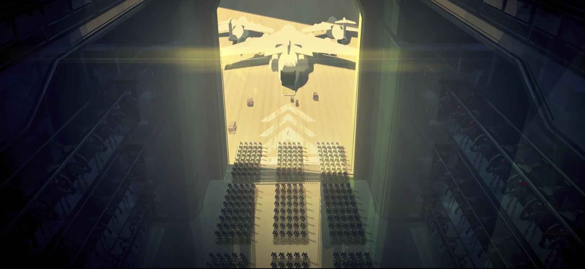 Above shot of a hangar full of robots