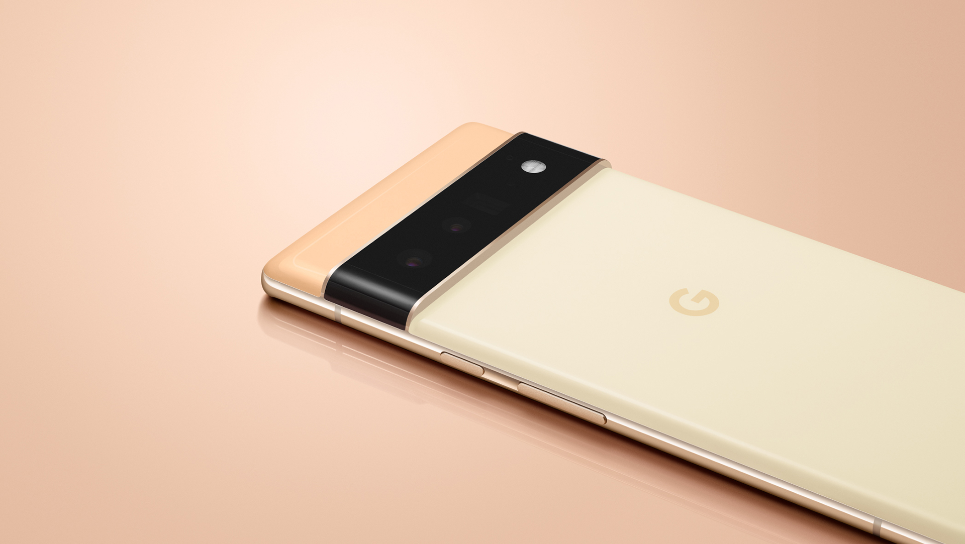 Google Pixel 6 in peach at an angle