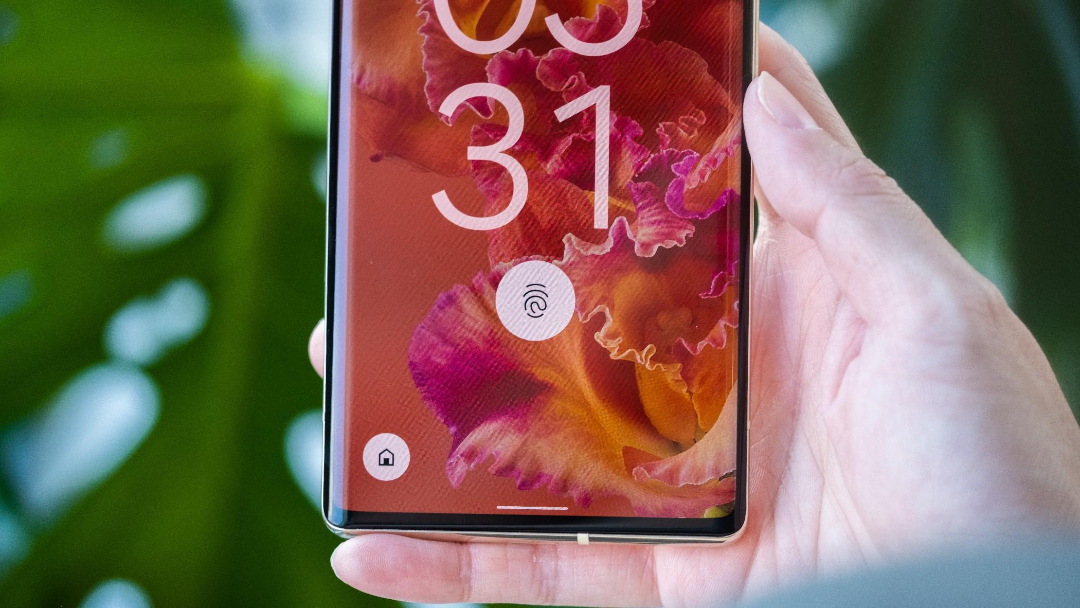 A close up on the Pixel 6 Pro's in-display fingerprint sensor.