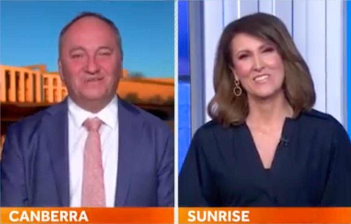 Barnaby Joyce repeatedly calls Sunrise host Natalie Barr 'Fran'