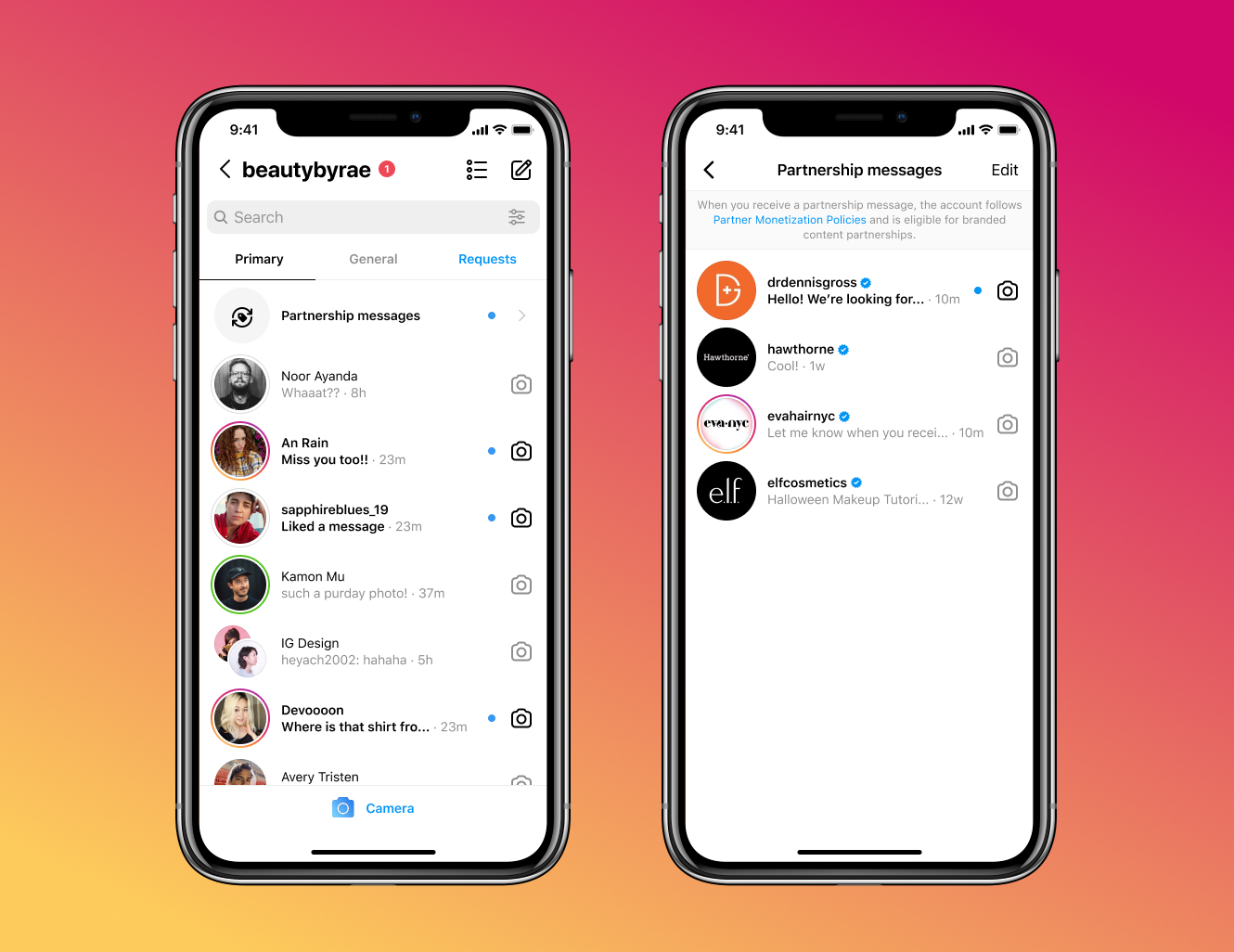Instagram is testing a new inbox for messages from potential partners.