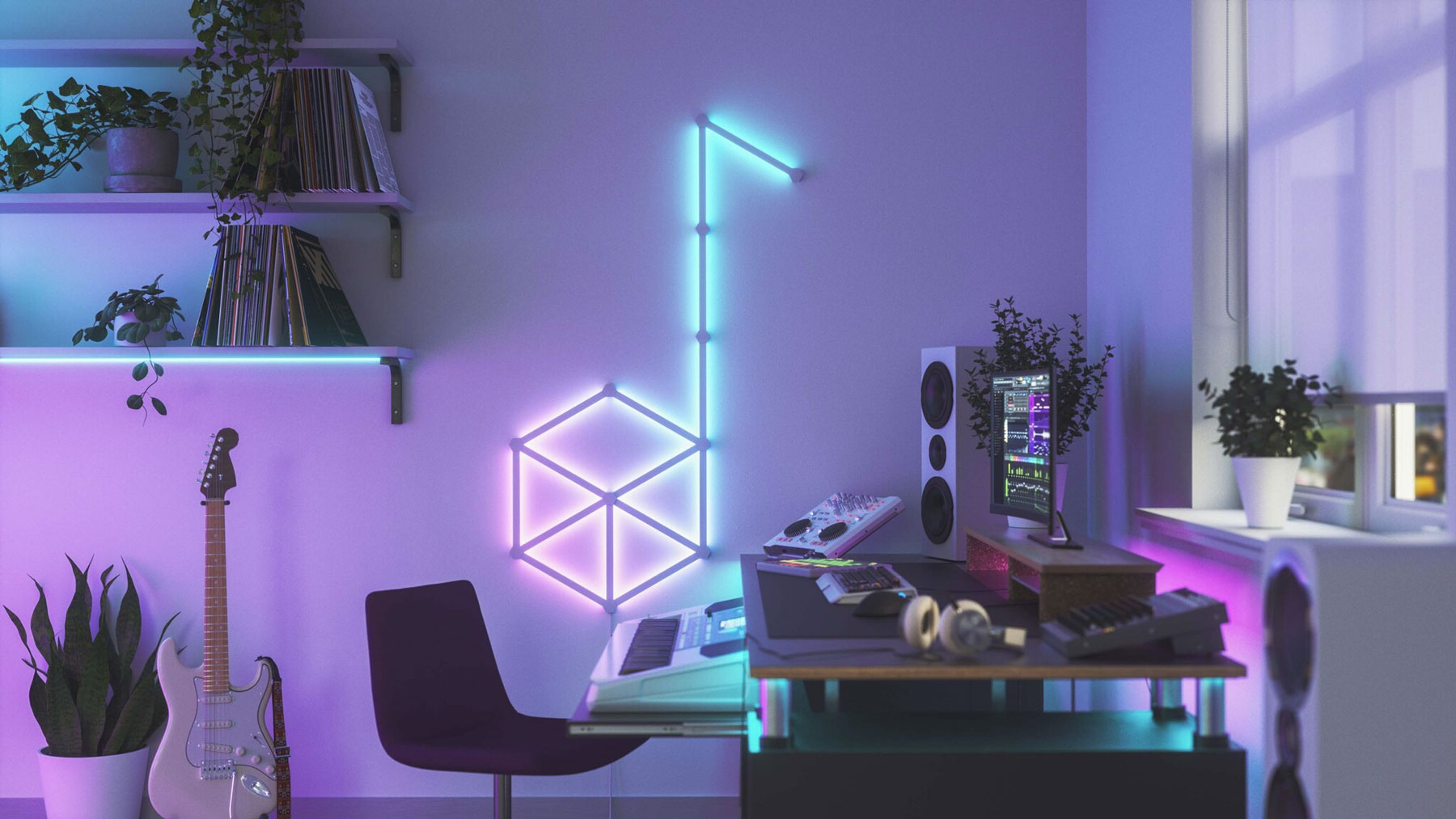 Image of the Nanoleaf Lines arranged upon a wall.
