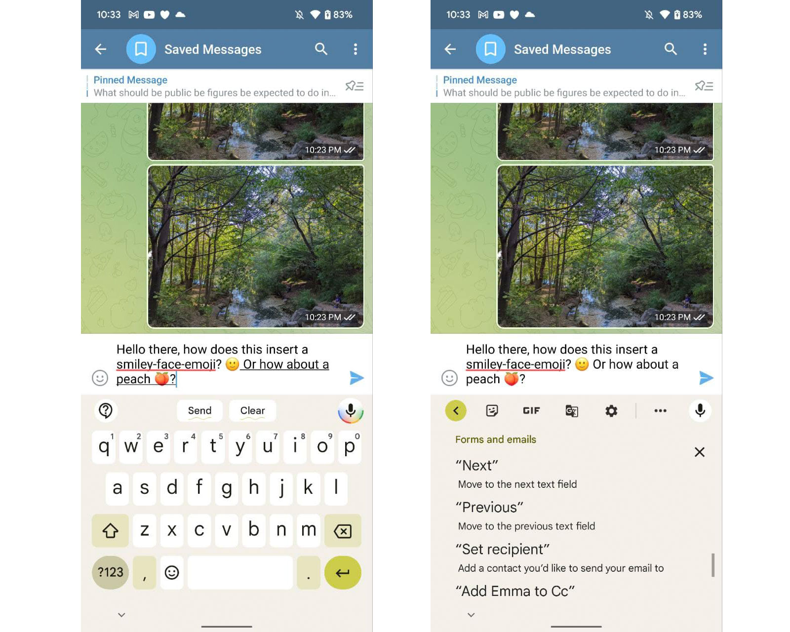 Screenshots showing examples of the new voice keyboard on the Pixel 6, as well as the help page showing more commands that can be used, like