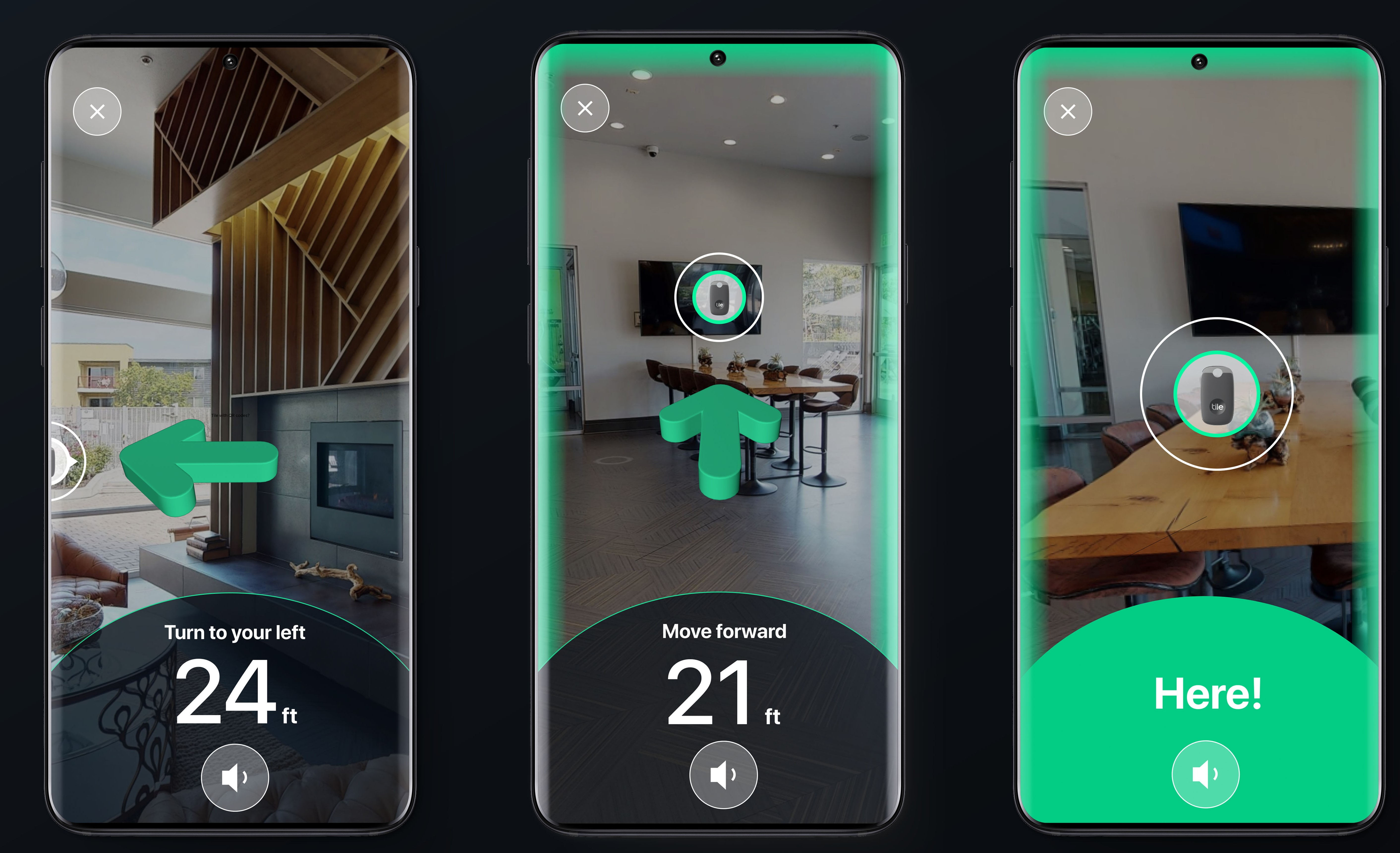 Tile Ultra's augmented reality experience for finding lost items. The screenshots offer visual indications of where to turn and move to in order to find the tracker.