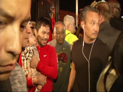 Manny Pacquiao Arrives in Las Vegas