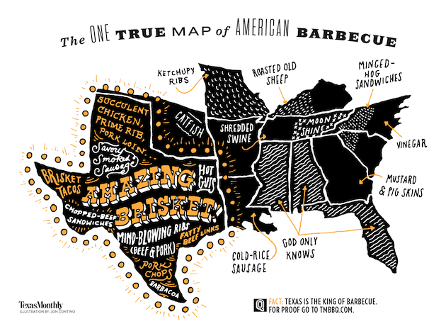 Texas Bbq Map Texas BBQ map latest salvo in state's savory meat 'declaration of