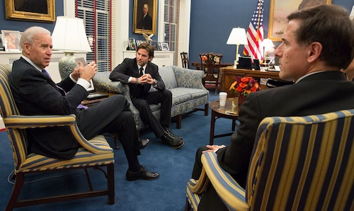 VP Biden Meets With David O. Russell, Bradley Cooper In D.C. (Photo)