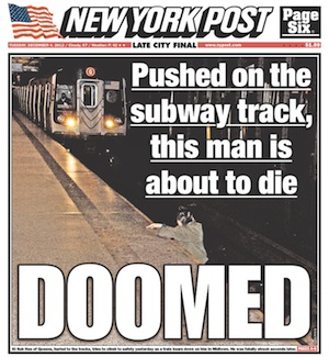 NY Post Cover Photo of Man Seconds Before Death-by-Train Sparks Outrage