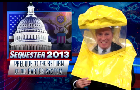 Jon Stewart Dons Hazmat Suit to Prepare for the Sequester