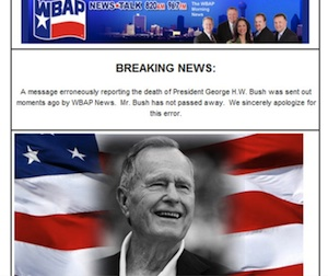 Texas Radio Station Apologizes for Falsely Reporting George H. W. Bush's Death