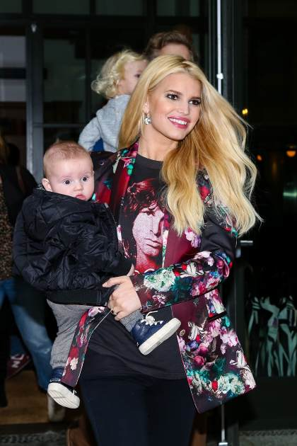 Jessica Simpson and her family, Eric Johnson, son Ace and daughter Maxwell, are seen checking out of their Manhattan hotel on December 6, 2013 in New York City -- Getty Images