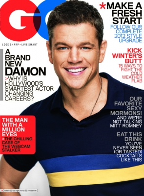 Matt Damon on the cover of the January 2012 issue of GQ -- GQ
