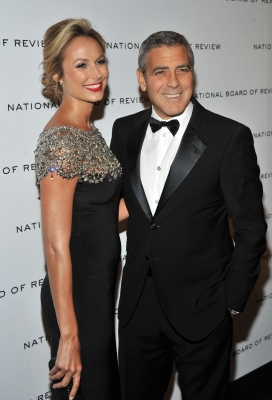 Stacy Keibler and George Clooney are all smiles at the 2011 National Board of Review Awards gala at Cipriani 42nd Street in New York City on January 10, 2012 -- Getty Images