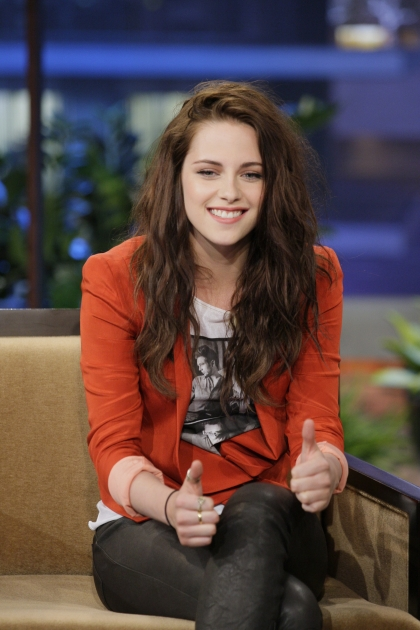 Kristen Stewart gives two thumbs up during an interview on 'The Tonight Show With Jay Leno' in Burbank, Calif., on May 4, 2012 -- Getty Premium