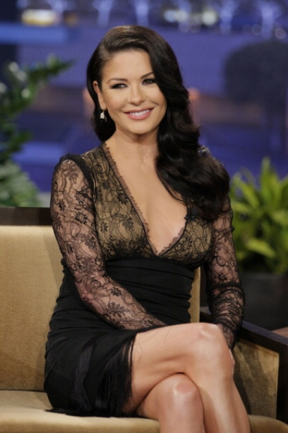 Catherine Zeta-Jones seen during an interview on 'The Tonight Show' on January 28, 2013 --