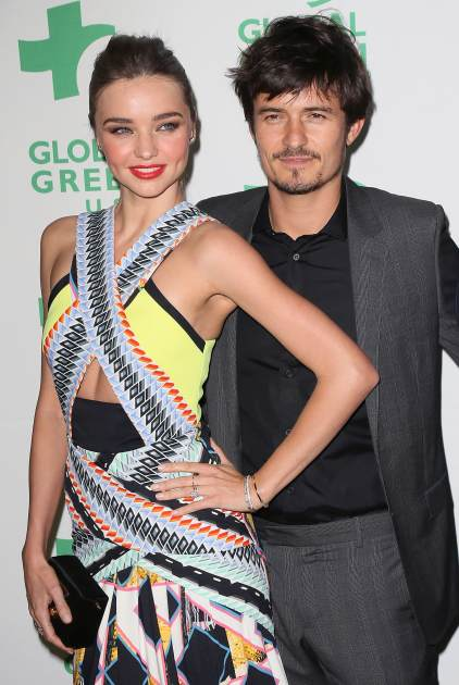 Miranda Kerr and Orlando Bloom attend Global Green USA's 10th Annual Pre-Oscar Party at Avalon on February 20, 2013 in Hollywood, Calif. -- Getty Images