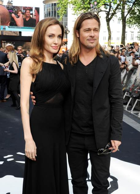 Angelina Jolie and Brad Pitt attend the world premiere of 'World War Z' on June 2, 2013 in London -- Getty Premium