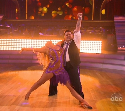 "Lacey Schwimmer and Chaz Bono cha cha on ""Dancing with the Stars,"" Season 13, Episode 1 -- ABC"