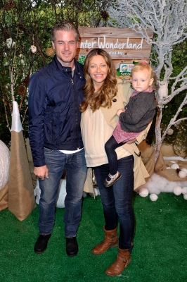Eric Dane and Rebecca Gayheart arrive with daughter Billie at the Baby2Baby Partners with Huggies Santa Diaper to host Winter Wonderland event in Beverly Hills, on November 12, 2011 -- WireImage