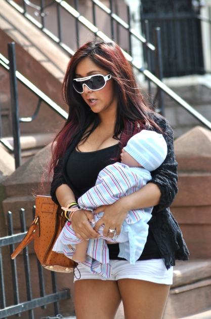 Nicole 'Snooki' Polizzi is spotted carrying a baby doll in Jersey City, NJ, on March 23, 2012 -- Getty Premium