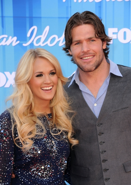 Carrie Underwood and Mike Fisher arrive at 'American Idol' Season 11 Grand Finale Show at Nokia Theatre L.A. Live on May 23, 2012 -- WireImage