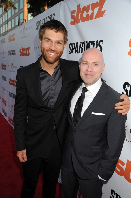 Liam McIntyre and Steven S. DeKnight attend the Starz celebration of Kirk Douglas and the impact of 'Spartacus' at Leonard H. Goldenson Theatreon, Hollywood, May 31, 2012 -- Getty Premium
