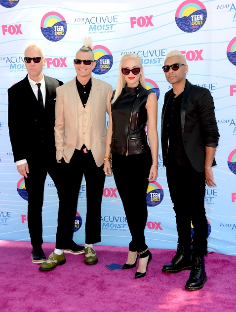 Tom Dumont, Adrian Young, Gwen Stefani and Tony Ashwin Kanal of No Doubt step out at the 2012 Teen Choice Awards at Gibson Amphitheatre in Universal City, Calif., on July 22, 2012 -- Getty Images