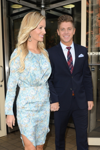 'Bachelorette's' Emily Maynard and Jef Holm seen at a taping of 'Good Morning America' in New York City on July 24, 2012 -- Getty Premium