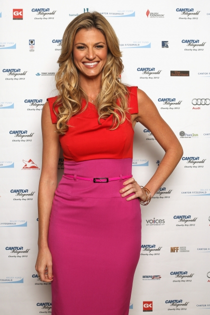 Erin Andrews attends Cantor Fitzgerald & BGC Partners host annual charity day on 9/11 to benefit over 100 charities worldwide at Cantor Fitzgerald on September 11, 2012 in New York City. The sports casting beauty was there on behalf of the Lollipop Theater Network. -- Getty Images